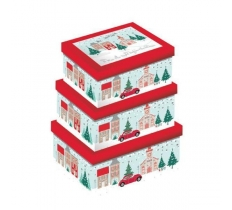 Deluxe CHRISTMAS EVE 3PC OBLONG BOXES