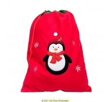 Deluxe Plush Red Penguin Christmas Sack 50cm X 70cm