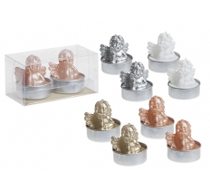 SET OF 2 3D CHERUB TEA LIGHTS IN PVC BOX 4ASSTD COLOURS