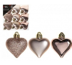 SET OF 9 4CM HEART DECORATIONS IN PVC BOX ROSE GOLD