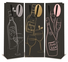 XMAS BOTTLE BAG BLACK FOIL DESIGNS