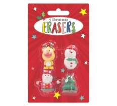 4 Christmas Shaped Erasers