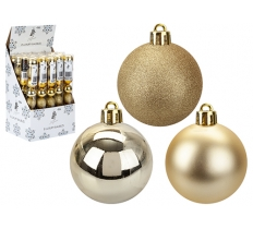 8 PACK OF 5CM BAUBLES IN GOLD