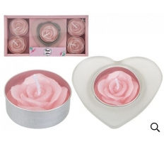 3PC VOTIVE & ROSE TEALIGHT SET IN TRAY MUM IN A MILLION