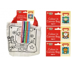 CHRISTMAS COLOUR YOUR OWN CANVAS BAG