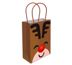 REINDEER PAPER BAG WITH HANDLES 16X22X9CM
