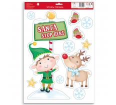 CHRISTMAS SANTA STOP HERE WITH STICKERS