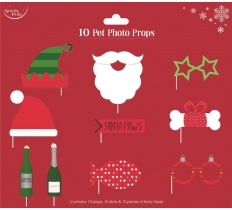 PET CHRISTMAS PHOTO PROPS 10 PACK