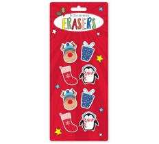 SHAPED CHRISTMAS ERASERS 8 Pack