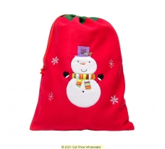 Deluxe Plush Red Snowman Christmas Sack 50cm X 70cm