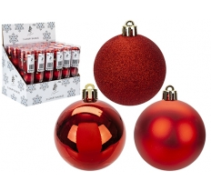 SET OF 5 6CM BAUBLES RED IN PVC TUBE