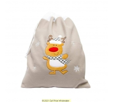 Deluxe Plush Silver Reindeer Christmas Sack 50cm X 70cm