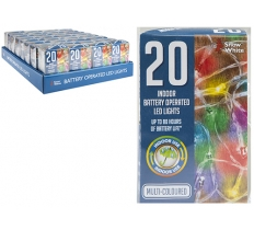 20 MULTI COLOURED LED LIGHTS BATTERY OPERATED