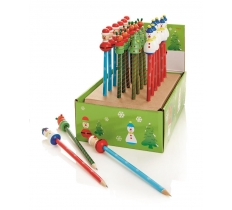 18cm Wooden Santa S'man R'deer Tree Pencils in CDU 4 Asst