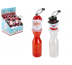 SANTA / SNOWMAN HEAD PLASTIC BOTTLE WITH STRAW 500ML