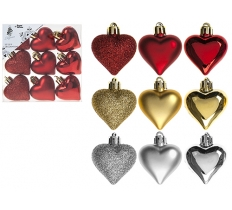 4CM HEART DECORATIONS IN PVC BOX 9 Pack