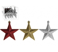 SET OF 6 10CM STAR DECORATIONS IN PVC BOX 3ASSTD