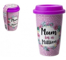 DOUBLE WALL CUP WITH LIDMUM DESIGN 320ml