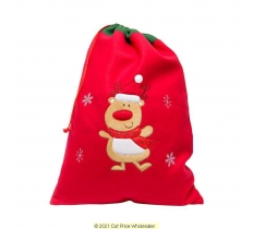Deluxe Plush Red Reindeer Christmas Sack 50cm X 70cm