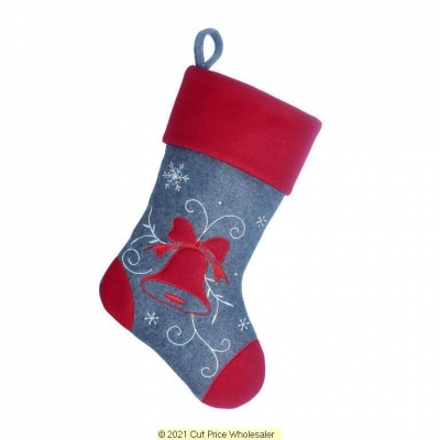 DELUXE PLUSH BELL GREY RED TOP CHARCOAL STOCKING 40CM X 25CM