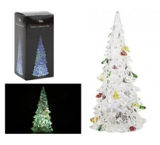 "5"" CLEAR CRYSTAL CHRISTMAS TREE WITH COLOUR CHANGING LIGHT"