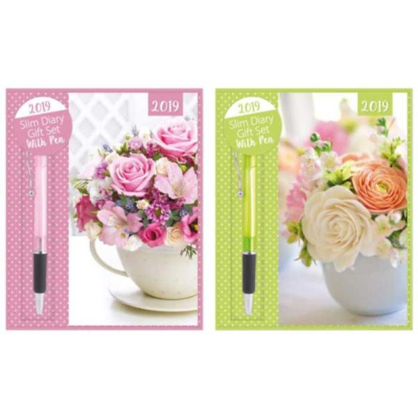 2019 SLIM DIARY AND PEN GIFT SET FLORAL