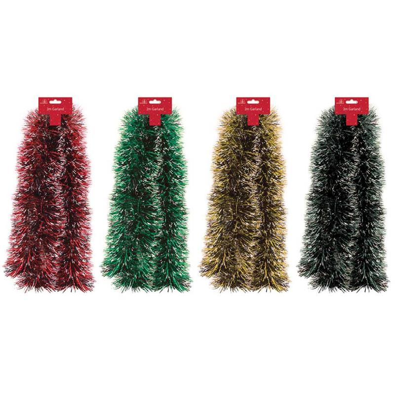 SNOW TIPPED TINSEL 2M