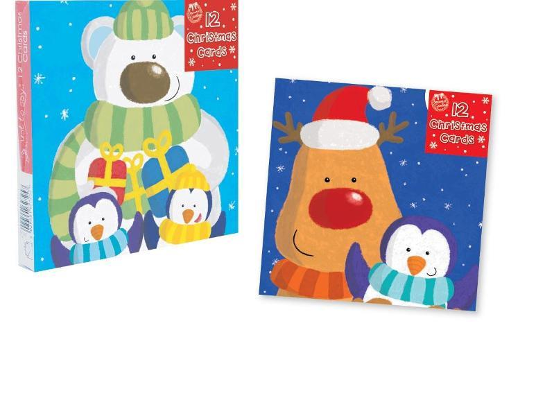 12 SQUARE CHRISTMAS CARDS CUTE